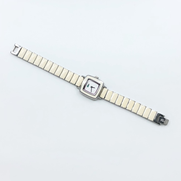 Lacoste • Ivory Enamel Square Face Modern Watch by Lacoste